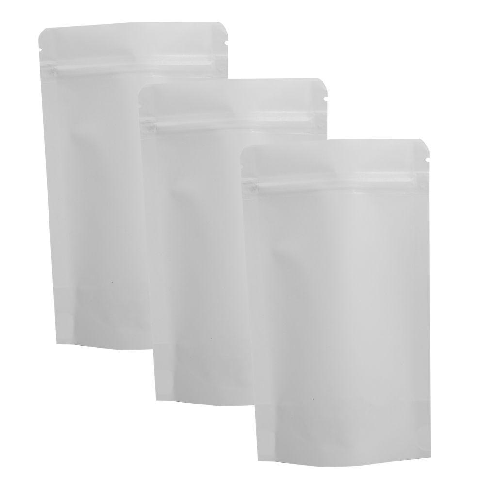 Hohe Qualität 13x21 cm 100 STÜCKE Risskerben Kraftpapier Heißsiegeln Aufstehen Lebensmittel Lagerung Weiß Kraft Zip-Lock Tasche