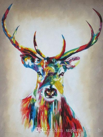 Colorful Stag Elk Handpainted & HD Print Modern Abstract Animal Art Oil Painting Home Decor Wall Art On High Quality Canvas Multi sizes a143
