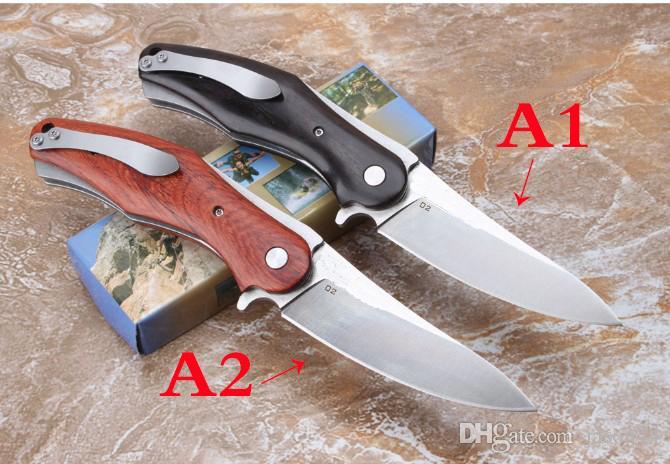 Haute qualité D2 en acier poignée en bois Camping Chasse Survie Couteau Fermoir EDC Outils Plein air cadeau couteau pliant en gros