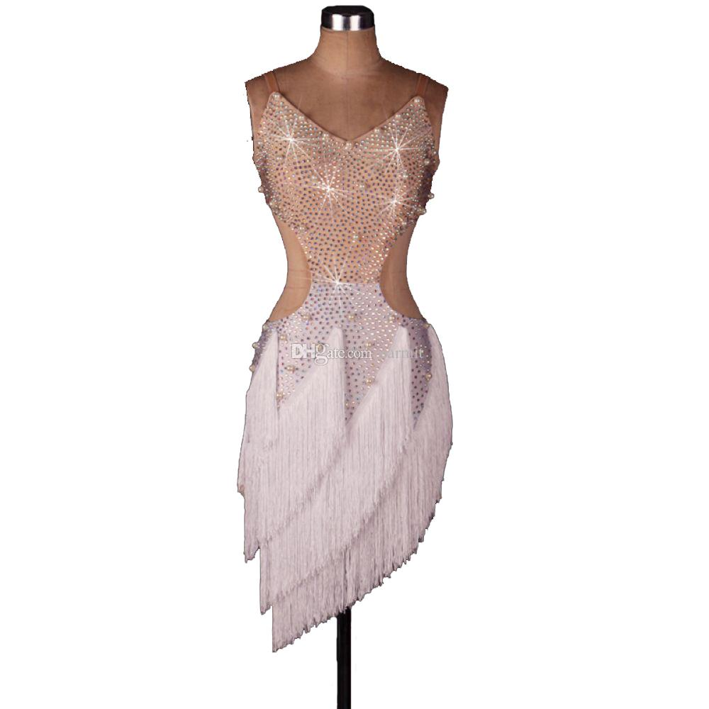 Vestido de baile latino para mujer con pedrería brillante Cuentas de perlas 2 opciones D0500 Trajes de baile latino Vestido de salsa para mujer