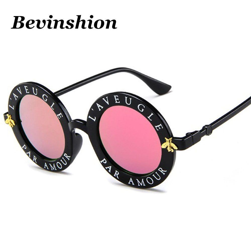 Großhandel 2018 Mode Runde Sonnenbrille Frauen Männer Kleine Biene ...