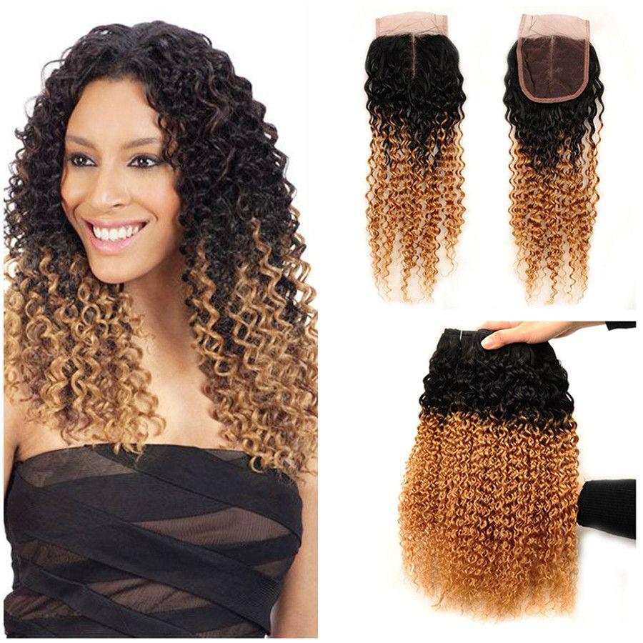 Темный корень мед блондинка ломбер человеческие волосы #1B 27 кудрявый вьющиеся пучки волос ткет с закрытием кружева свободного среднего три части 4 шт. Много