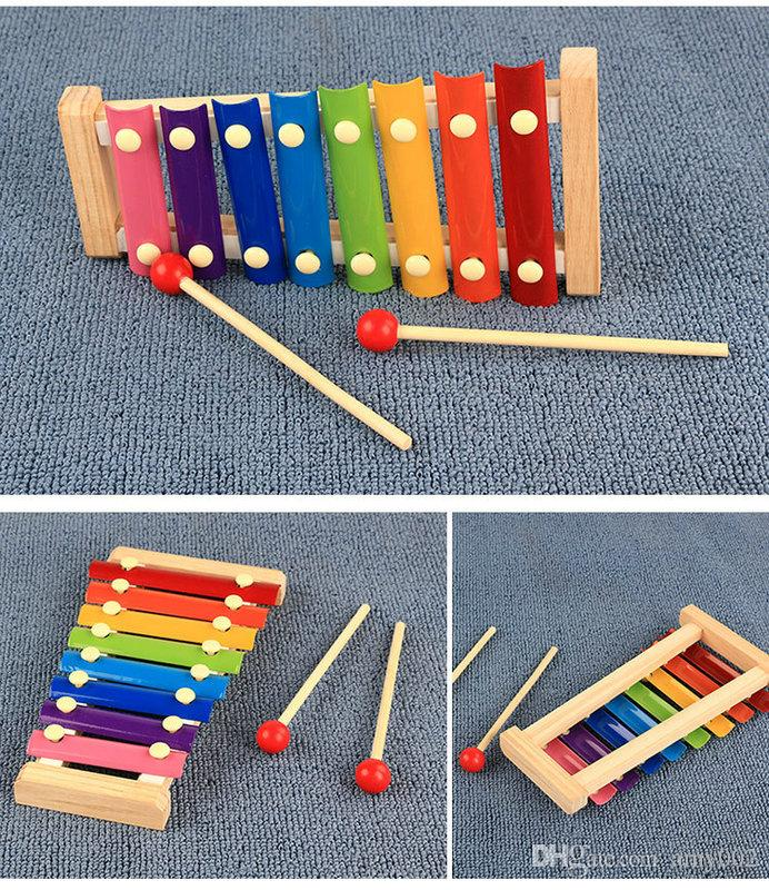 wood hand knocks the xylophone serinette Eight piano the eight scales on piano digital alphabet blocks Children's baby toy piano gift DHL 36