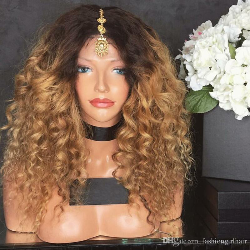 Kinky Curly Afro Hair Wigs ombre color blonde Synthetic Lace Front Wig Long For Black Women 180% Heavy Density Heat Resistant