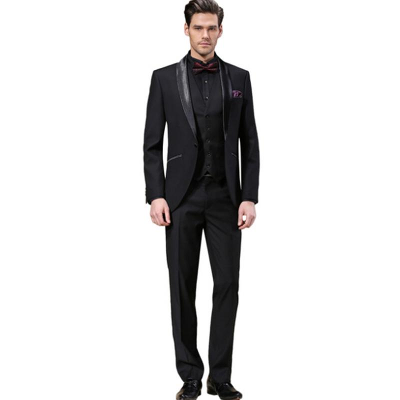 Slim Fit Black Wedding Suits Groom Tuxedos 3 Pieces (Jacket+Pants+Vest) Formal Prom Business Men Suits Blazer