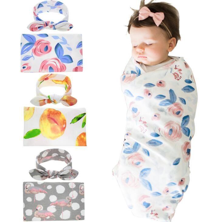 Европа Baby Florals Flamingo Swaddle Wrap Обитание Обертывания Одеяла Питомник Постельное белье Потенление Детская Детская Ударная Стрижка с повязкой A154