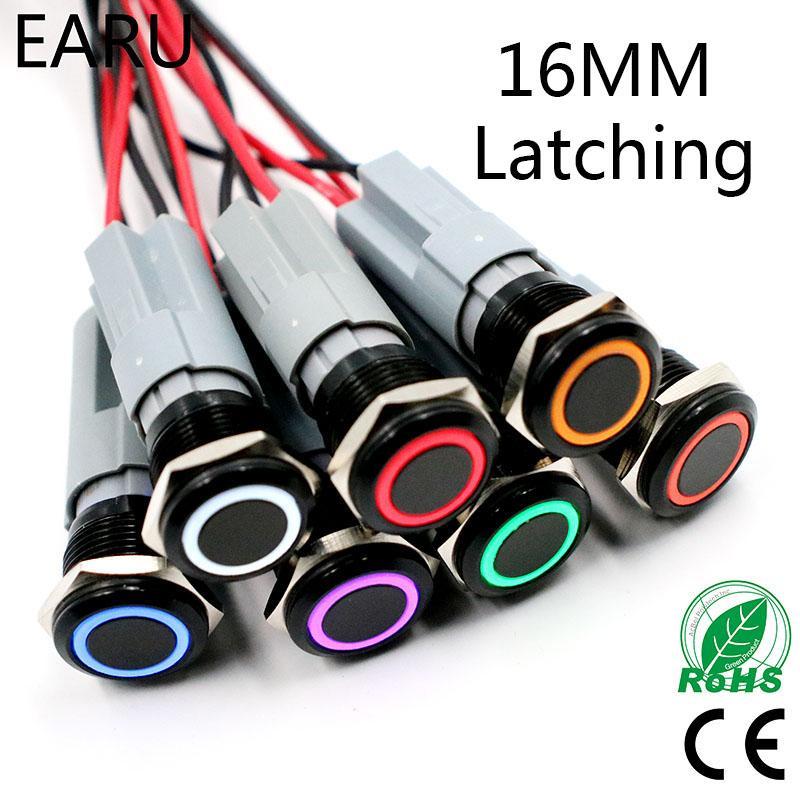 5V 12V 24V 110V 220V LED 잠금 래치 블랙 16mm 방수 자동차 전원 대시 금속 푸시 버튼 스위치 1NO 1NC 스테인레스 스틸