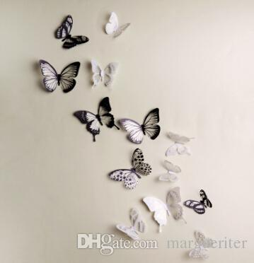 Wall Stickers Butterfly 3D Sticker PVC DIY Removable Butterflies Television Walls Sticker For Living Room Bedroom Decoration