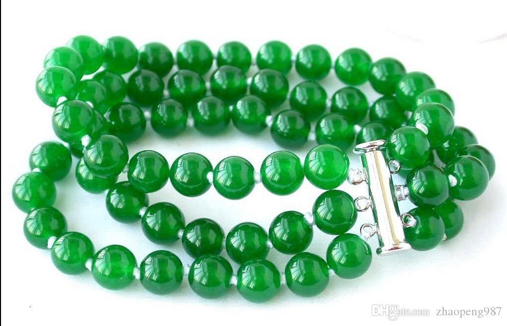 """Природные 8 мм круглый зеленый драгоценный камень бусины браслеты 7.5"""" 3 строки"""