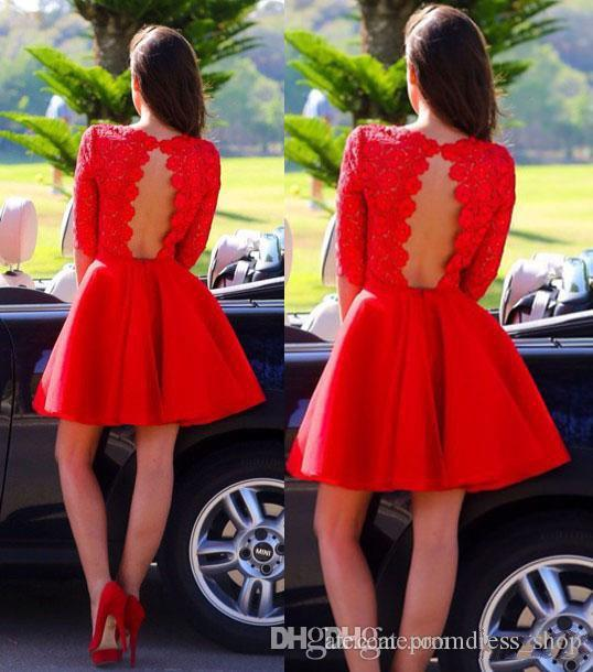 Free Shipping 2020 New Arrival A-Line Red Lace Half Sleeve Short Prom Homecoming Dresses Short Formal Party Dresses Open Back Custom Made