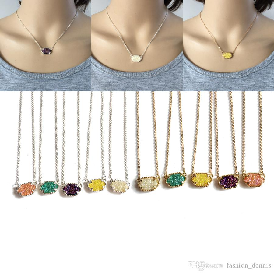 2019 Druzy Stone pendant necklaces Gold and Silver Plated Geometric Resin Charm Link Chain For women s Luxury Jewelry Accessories