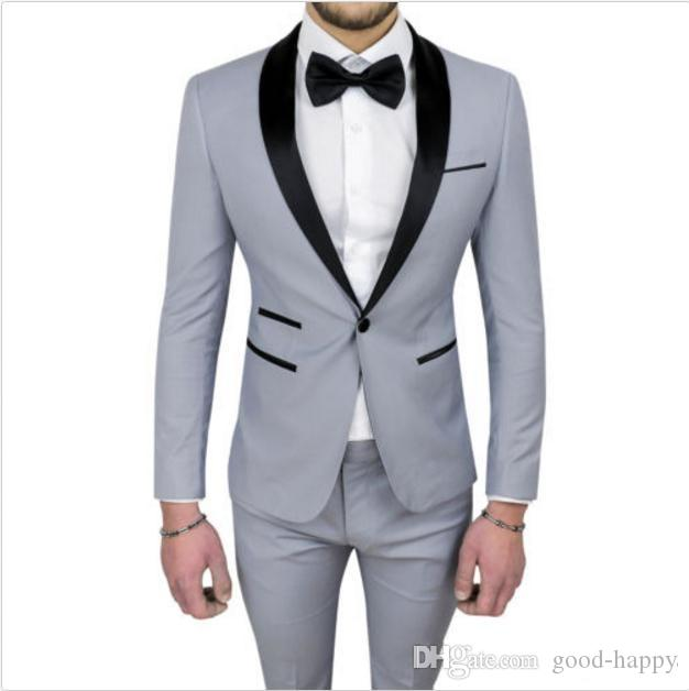 Новый Серый Мужчины Свадебные Смокинги Высокого Качества Смокинги Жениха Черный Платок Отворотом Центр Vent Мужчины Блейзер 2 шт. Костюм (куртка + брюки + галстук) 613