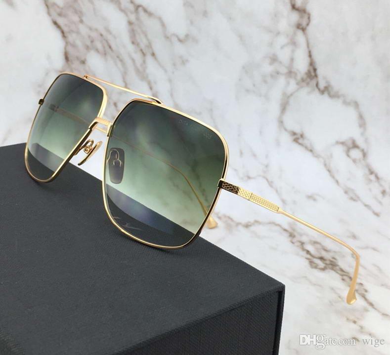 Vintage Gold Green Pilot Мужские Солнцезащитные очки Gold Brown затененные площади очки Оттенки Gafas де золь Новое с Case Box