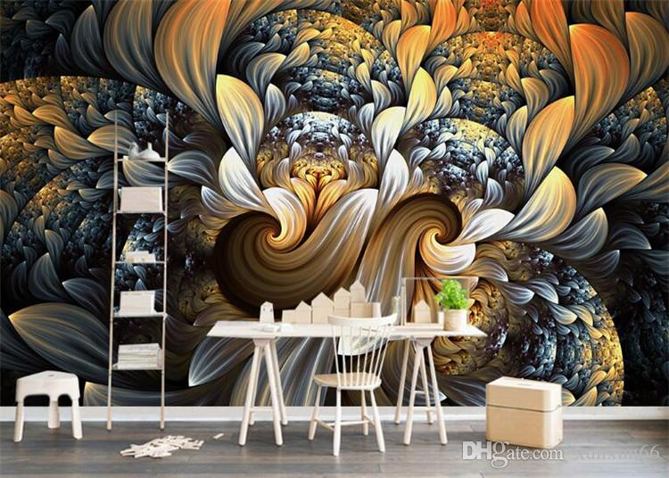 Custom Photo Wall Paper 3D Room Decor Mural Wallpaper Modern European Style Abstract Flower Pattern Art Design Wall Painting