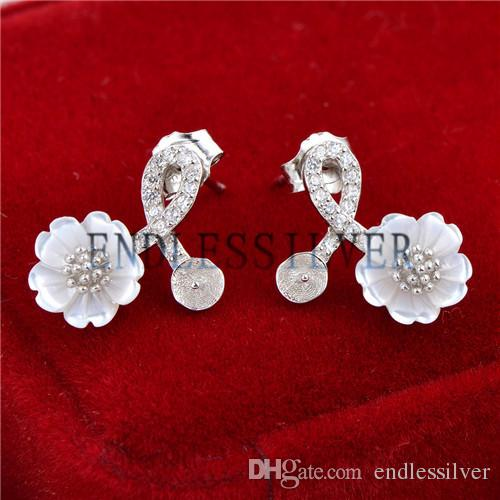Earring Settings Zircons White Shell Flower Design 925 Sterling Silver DIY Jewellery Findings for Pearl Party