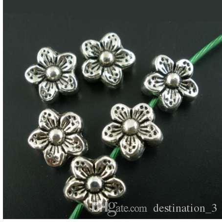 Doreen Box hot-50PCs Perline in argento antico con fiore distanziatore 9mm (B02202)