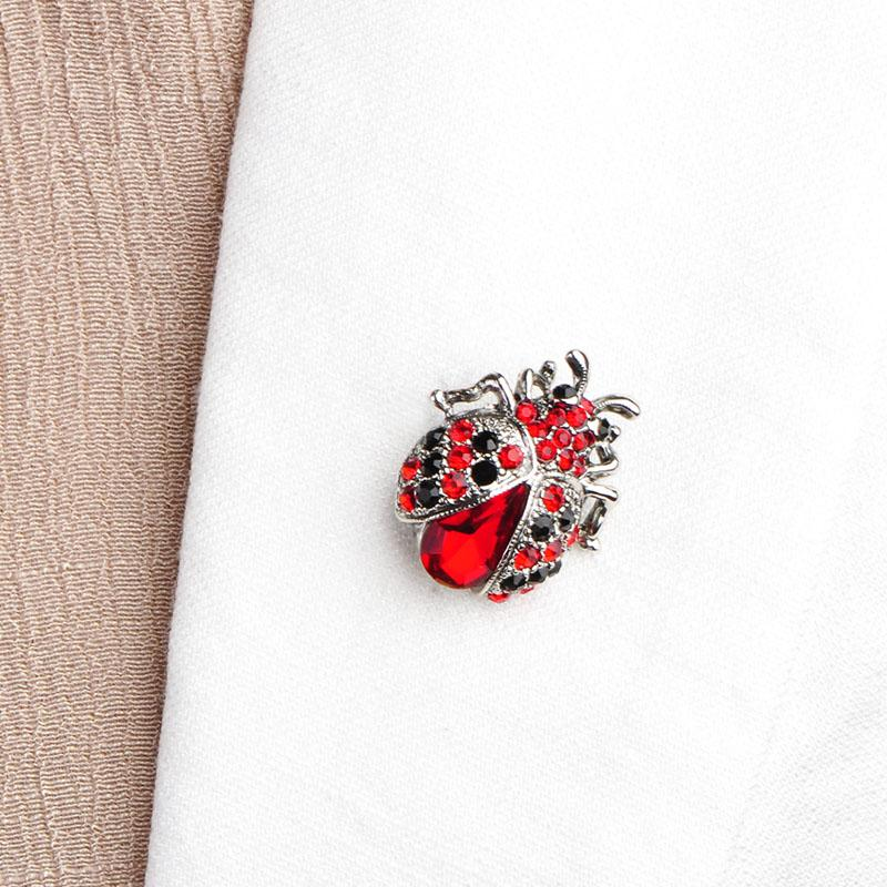 Antique Silver Plated Red Rhinestone Insect Brooch Broches Hijab Scarf Pins Up Brooch Bouquet Esmalte De Unhas Bijoux For Women