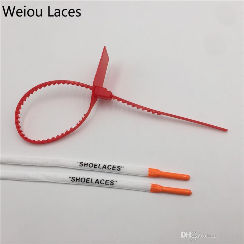 """Weiou Impression ovale """"SHOELACES"""" avec du silicone multicolore avec une fermeture à glissière rouge dans des lacets de cordage en polyester de 80 cm"""
