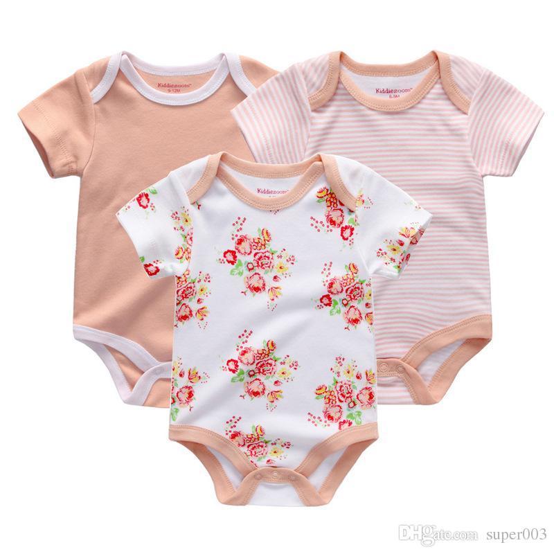 2018 Yeni bebek kız tulumlar bebek bodysuits 3 adet / grup pamuk yenidoğan toptan kısa kollu bebek erkek giyim seti