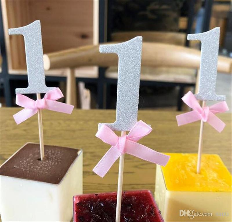 Inicio primer cumpleaños 1er Año primeros de la magdalena con brillo fiesta de cumpleaños de papel Niño Niña de bricolaje decoración de la torta de suministro