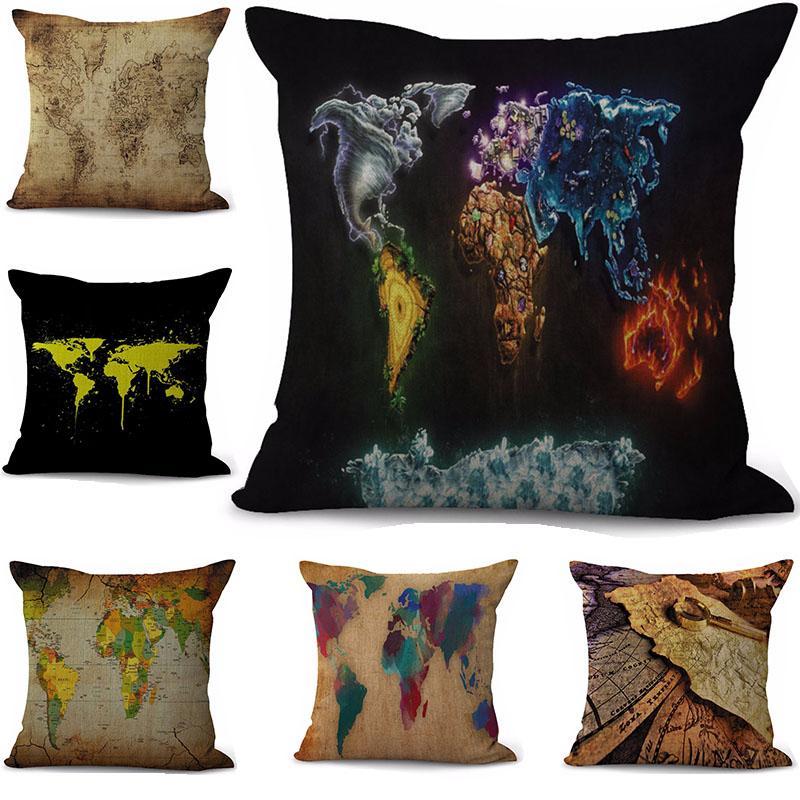 Sailing World Map Pillow Case Cushion cover linen cotton Throw Square Pillowcase Cover Home Decorative Drop Ship 300817