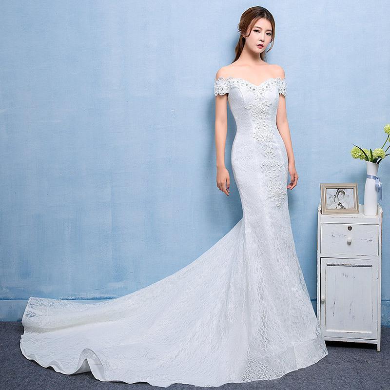 2018 новый свадебный свадебное платье, корейский кружева рыбы хвост, тонкий и хвост свадебное платье.