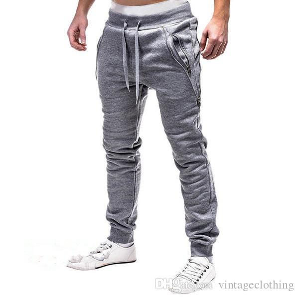 Spring Men Pants Cotton Casual Black Grey Drawstring Long Men Pantalones Joggers con Cremallera Talla M-3XL