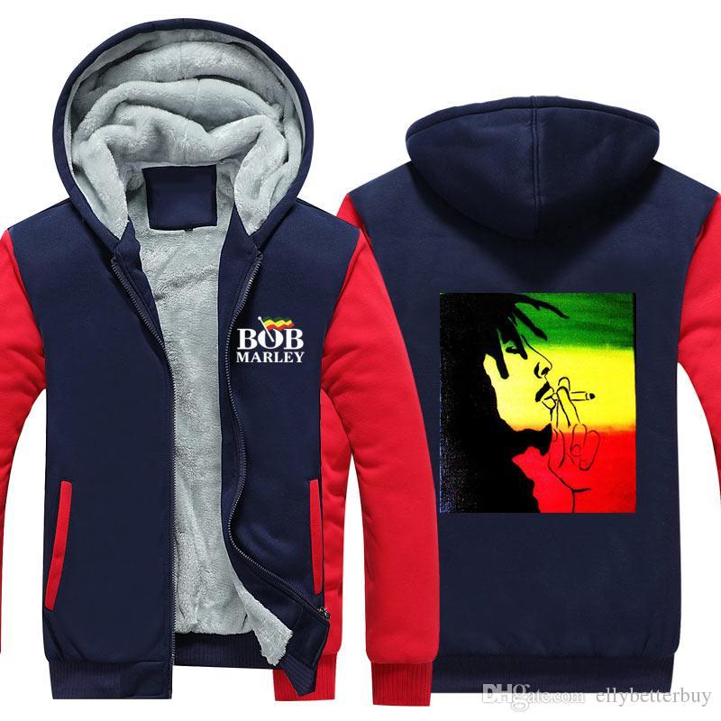 Erkekler Bob Marley Kaşmir Hoodie Kış Kalınlaşmak Fermuar Tişörtü Kabanlar Ceket Hırka Coat Uzun Kollu Kazaklar ABD eşofman