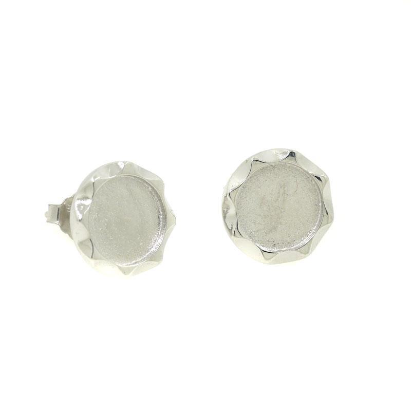 925 Sterling Silver Stud Brincos para Mulheres 5mm 6mm 7mm 8mm Rodada Cabochon Semi Brincos de Montagem de Jóias Finas Brincos Do Partido