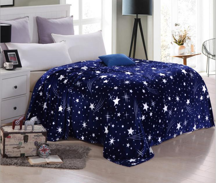 Family bedclothes Flannel Blue Star Sky blankets Blanket Adults lattice bed sheets sofa/Travel/camping Portable Blanket