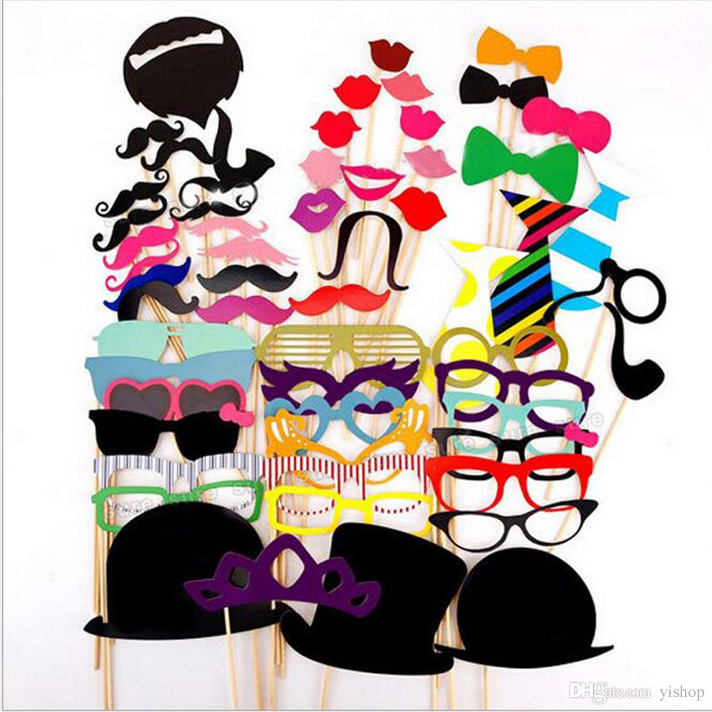 Lot58pcs/Set Creative Mask Funny DIY Photo Booth Props Glasses Mustache Lip On A Stick Wedding Birthday Party Fun Decoration Halloween Gift