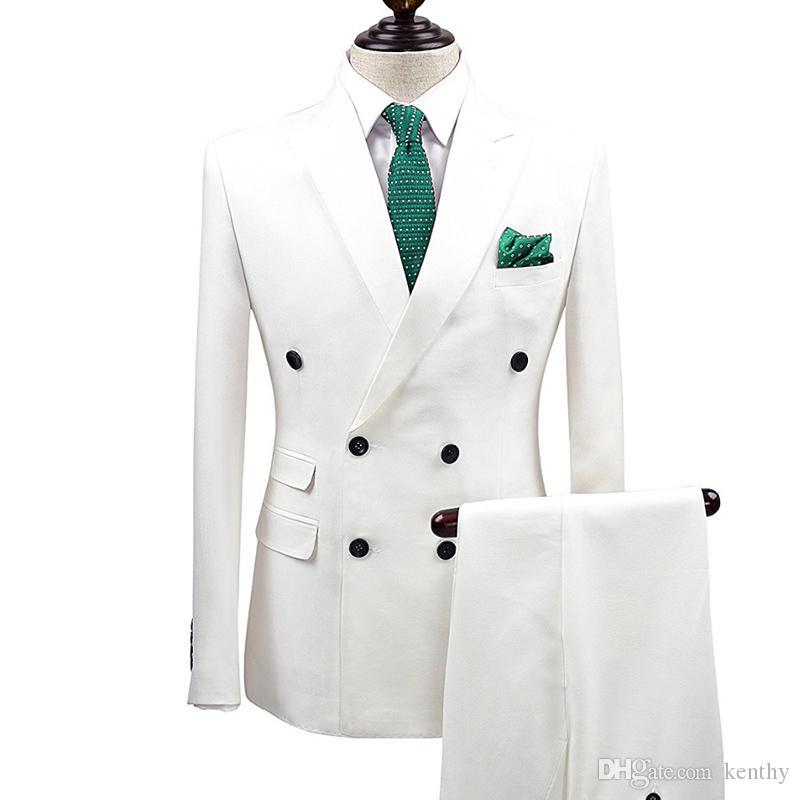 Mężczyźni Garnituje Biały Custom Made Garnitury Ślubne Double Breasted Bardegroom Groom Slim Fit Formalne Tuxedos 2 Szpace Kostium Homme Prom Najlepszy człowiek