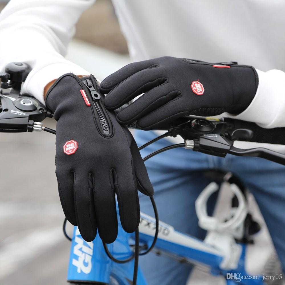 새로운 겨울 야외 스포츠 Windstopper 방수 장갑 블랙 라이딩 장갑 오토바이 장갑 롱 핑거 사이클링 장갑