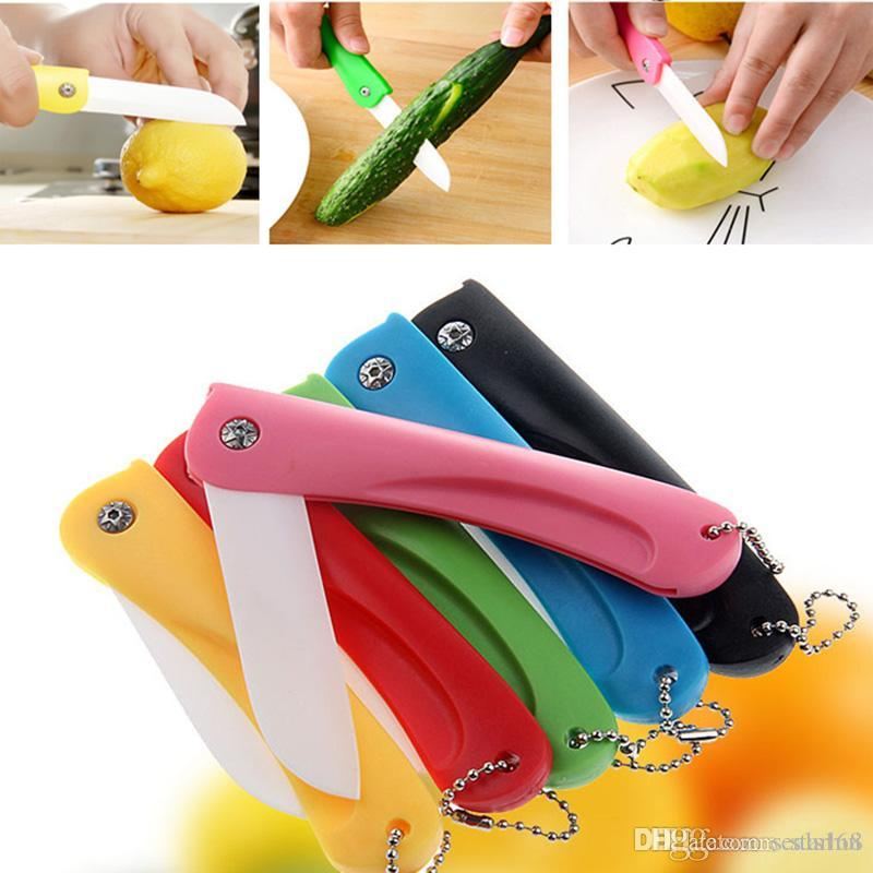 Portable Ceramic Fruit Vegetable Knives Multi Color Outdoor Fold Pocket Paring Knives ABS Kitchen Tools WX9-201