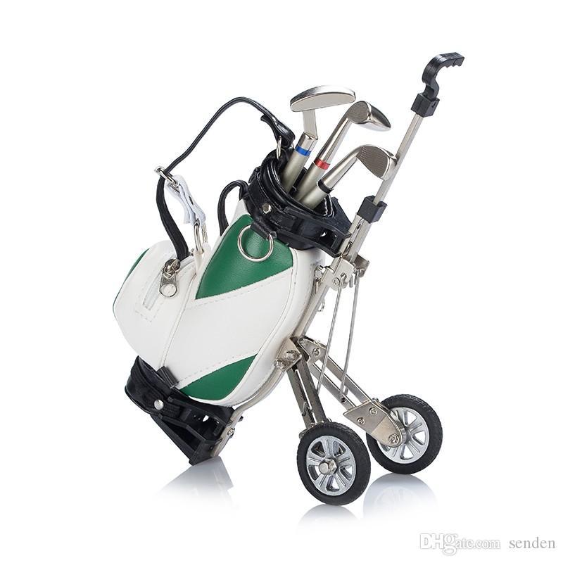 Porte-stylos de golf original avec support de sac de golf, support de stylo de sac de golf de bureau, caddon de golfeur miniature avec 3 stylos métalliques et support de sac en PU