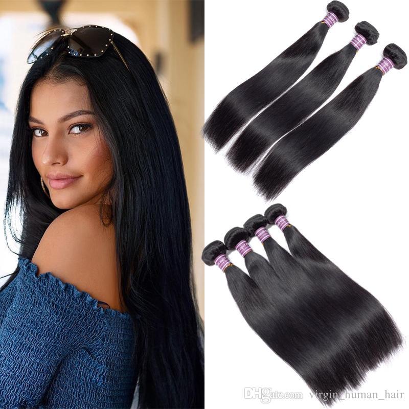 Bundles de tissage de cheveux humains Remy brésiliens 8A Grade 100% non transformés Naturel Noir Brésilien Droite Vierge Extensions de trames de cheveux humains