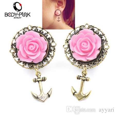 CORPO PUNK 2 Pcs 3D Rosa Rosa Ouro Âncora Túnel Da Orelha Brinco de Aço Inoxidável Ear Plugs Calibre Body Jewelry Perfurando 6-16mm PLG 002