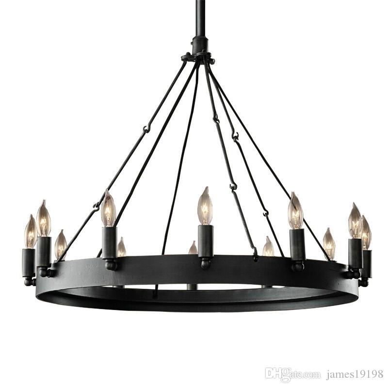 American Circle candle chandelier vintage Round wrought iron E14 Lamps For living room cafe bedroom clothing store G123