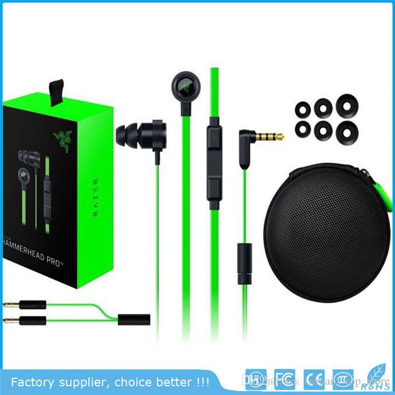 Razer Hammerhead Pro V2 سماعة في الأذن سماعة مع ميكروفون مع مربع التجزئة في الأذن الألعاب سماعات الضوضاء عزل ستيريو باس 3.5 ملليمتر
