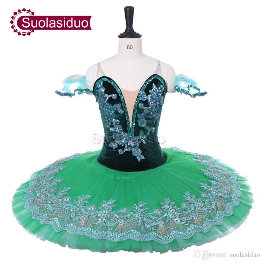 Mulheres Verde Escuro Tutu de Balé Profissional Folha Verde Desempenho de Palco Fada Apperal Crianças Traje de Dança de Balé Trajes de Competição Vestido Adulto