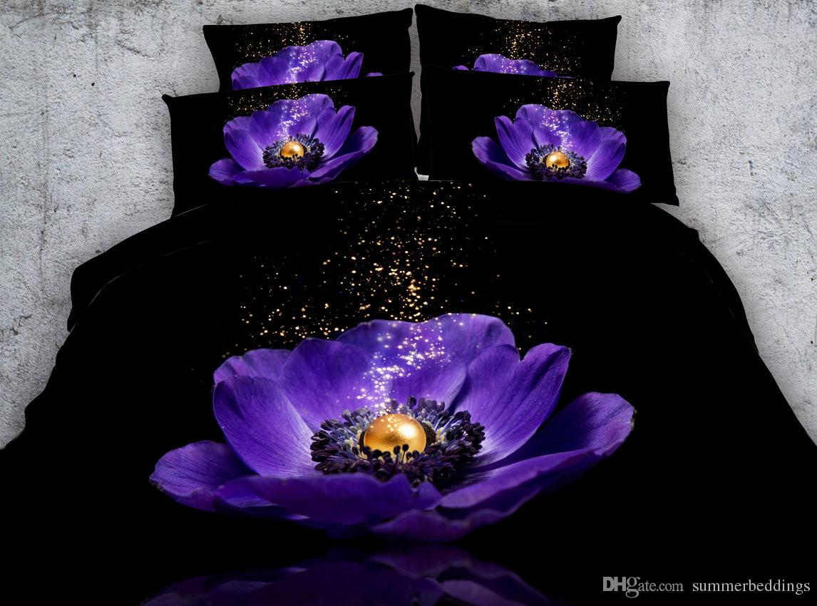 3D purple floral bedding sets flower duvet covers bedspreads cover Bed Linen Quilt Covers bed cover for adults twin full queen king cal king