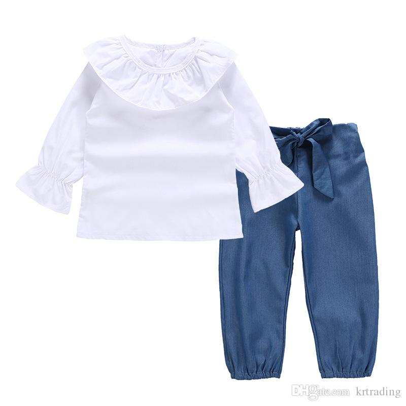 Kids Girls long sleeve shirt outfits 2pc set white ruffled collar T shirt+soft denim cotton bowknot pantscute simple style clothing for 2-5T