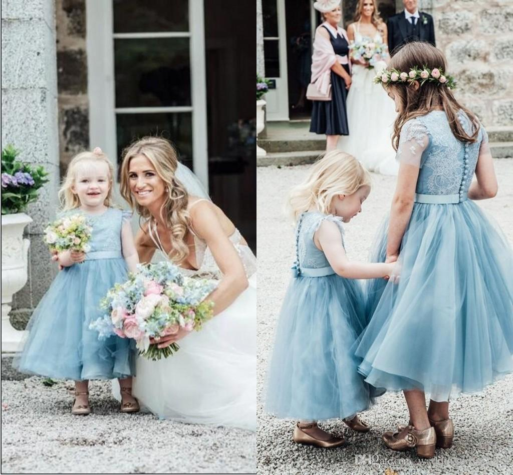 Spring 2018 Country Style Flower Girls Dresses Jewel Neck A Line ...
