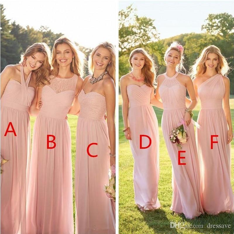 2019 blush rose rose de style campagne robes de demoiselle d'honneur froncée une épaule Sweetheart Notes sans dos
