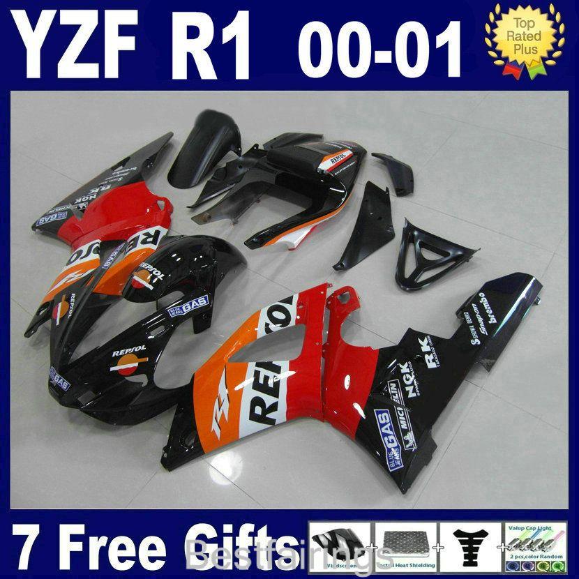Kit carena vendita caldo per carene YAMAHA R1 2000 2001 rosso bianco YZF R1 00 01 VA15