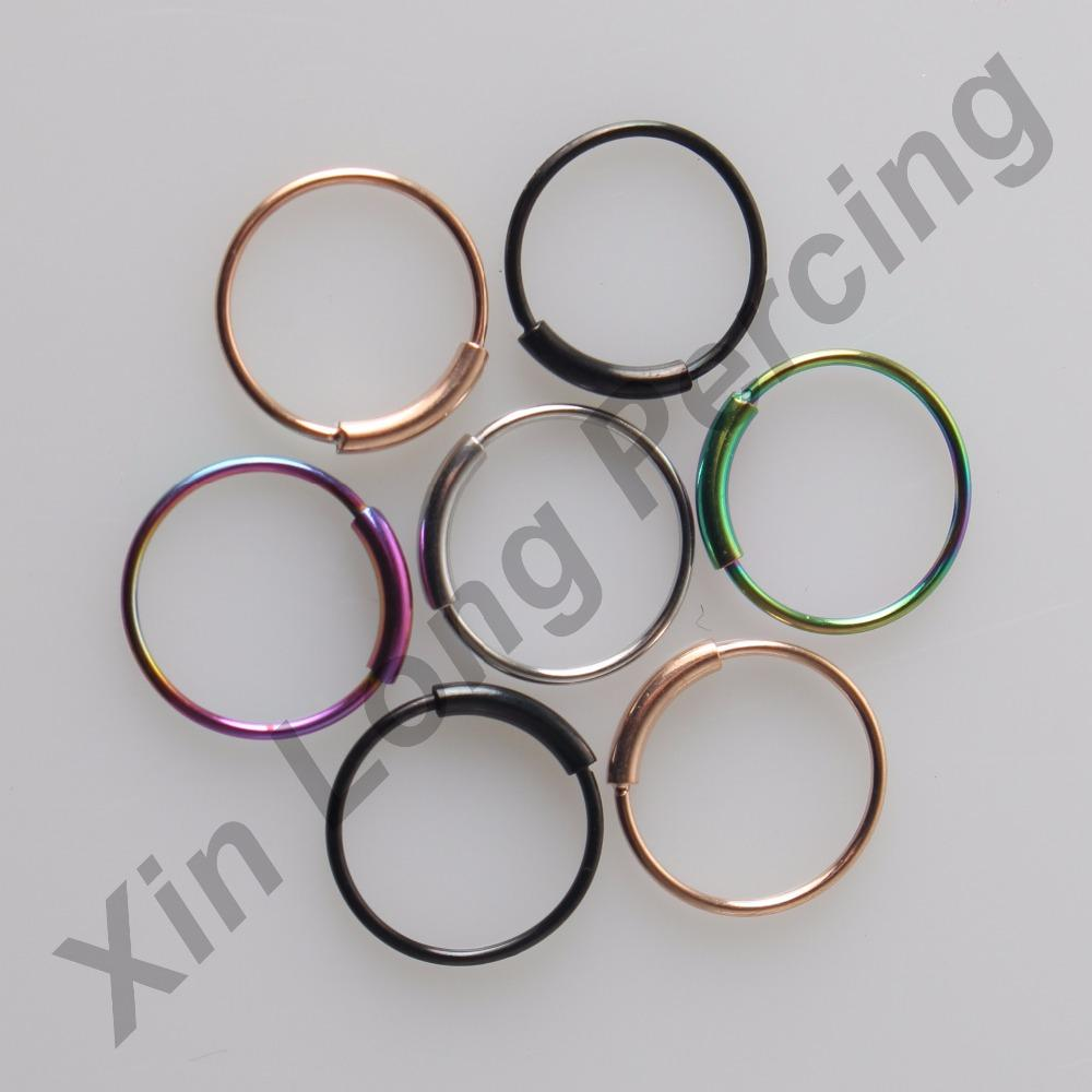 22g(0.6mm) 316L Surgical Steel Easy open Ring Nose Ring Septum Hoop Piercing Body Jewelry 50pcs/lot