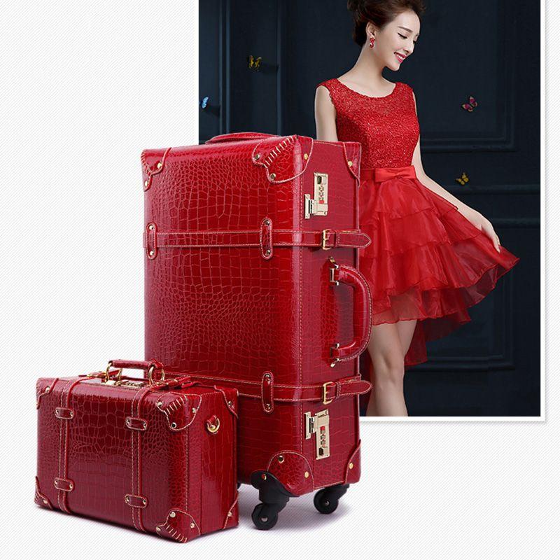 Ретро Spinner прокатки багажа набор женщин пароль дорожная сумка тележка 24 дюймов чемодан колеса 20 дюймов старинные нести на багажнике