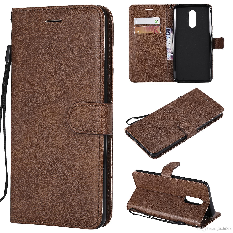 Etui portefeuille pour LG Stylo 4 Q Stylus Flip back cover couleur pure en cuir PU téléphone portable sacs Coque Fundas