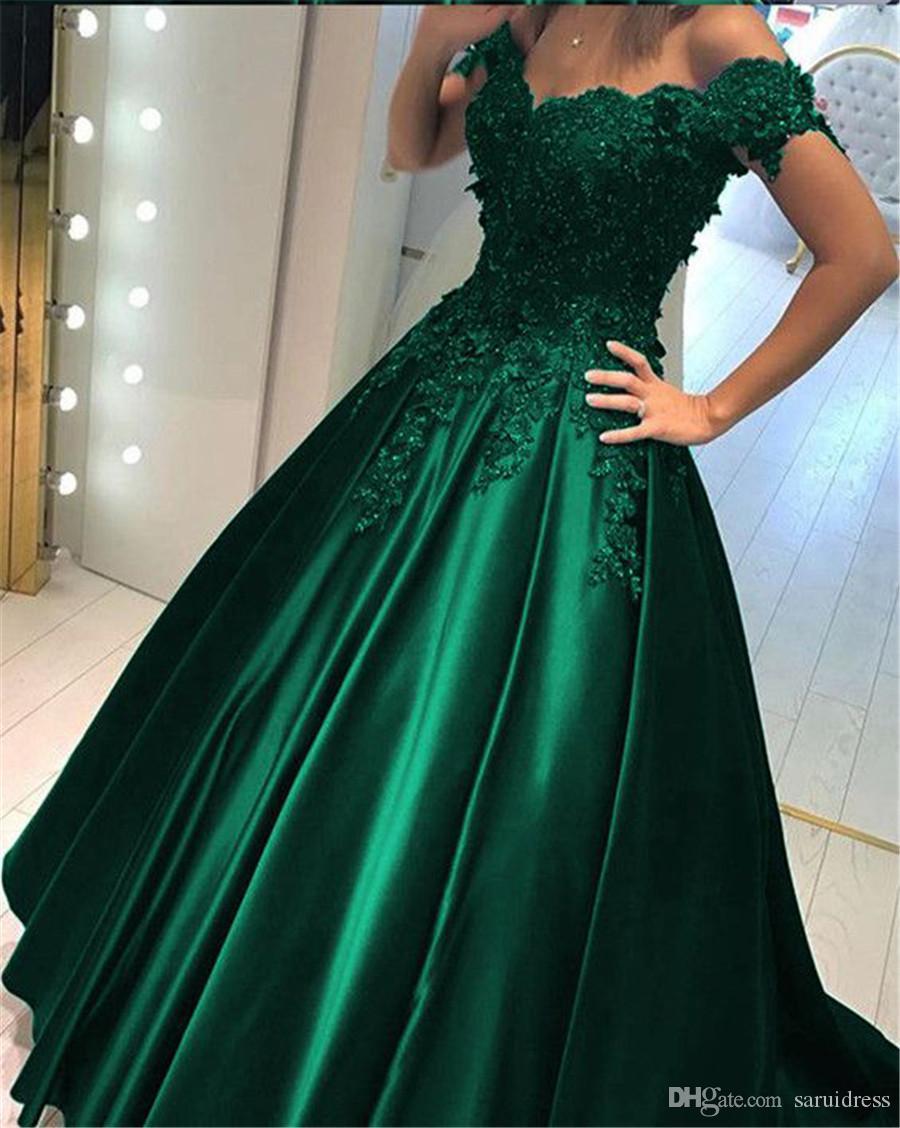 С плеча длинный охотник зеленый вечернее платье скромный вечернее платье аппликация кружева бальные платья Пром платье кристаллы