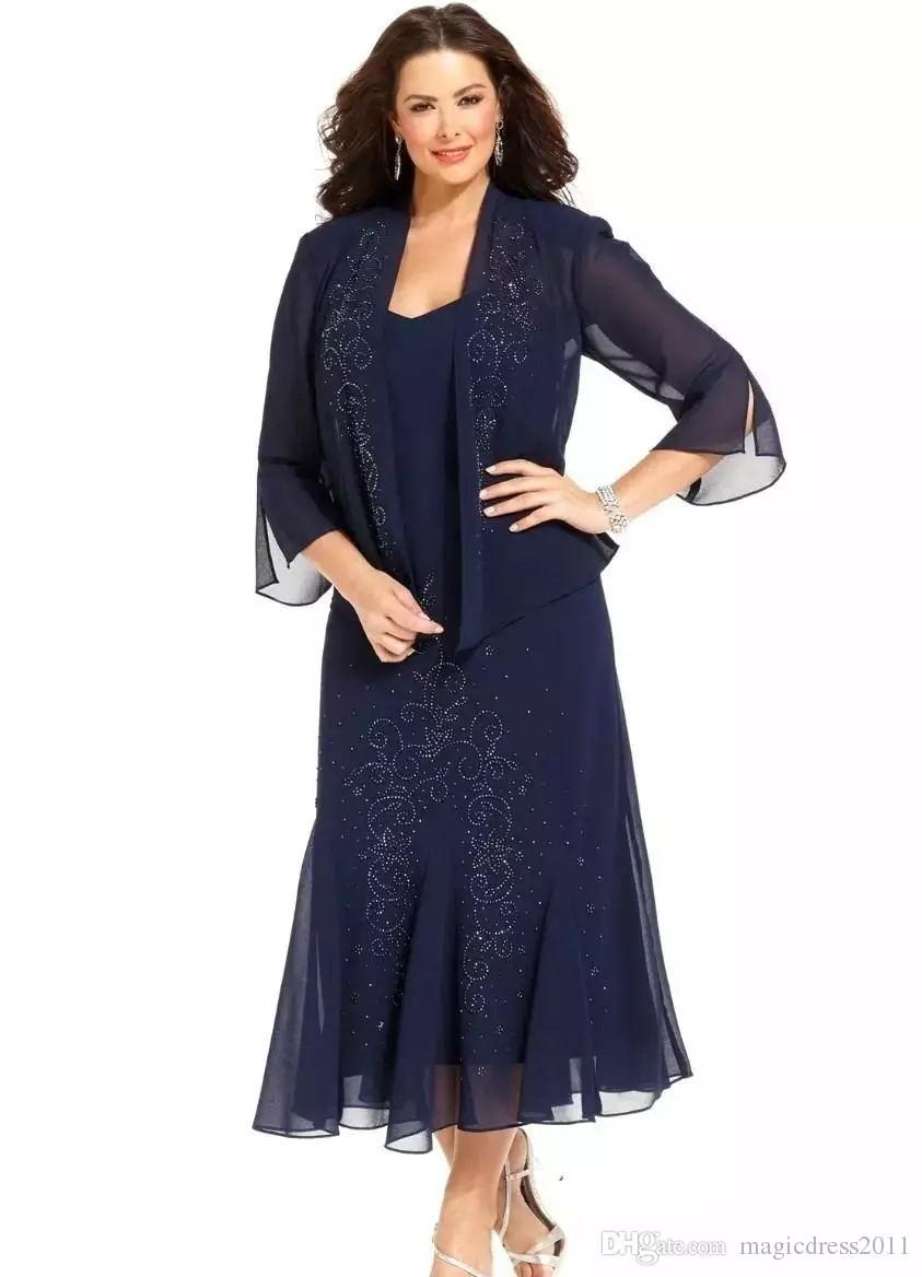 2019 Comprimento Chá de Marinha Azul da Mãe dos Vestidos de Noiva com Jaqueta de Manga Longa Frisada Vestidos de Noite Plus Size Vestido de Convidado Do Casamento